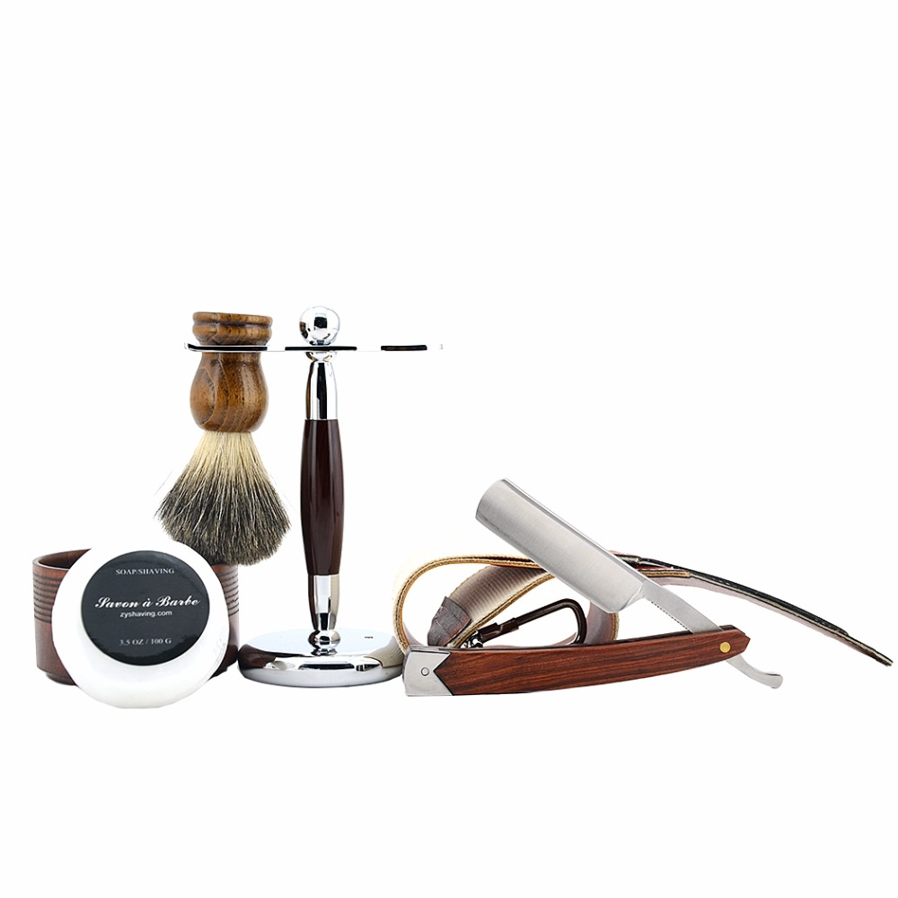 6PCS/Set Men Straight Razor Wood Set Shaver Razor Kit+Wood Badger Shaving Brush Stand+Handmade Shaving Soap Bowl+Razor Strop mens badger shaving brush stand razor holder and double head safety straight razor