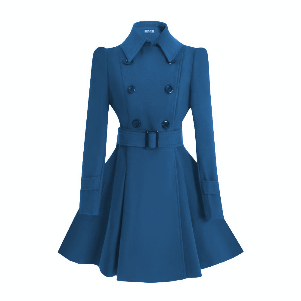 ForeMode Women Woolen Long Sleeve Medium long Winter Belt Coat Buckle Double Breasted Women Dress Wool