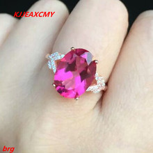 KJJEAXCMY Fine jewelry Red Topaz Ladies Ring Rose gold plated bride ring in sterling silver gold plated embellished ring set