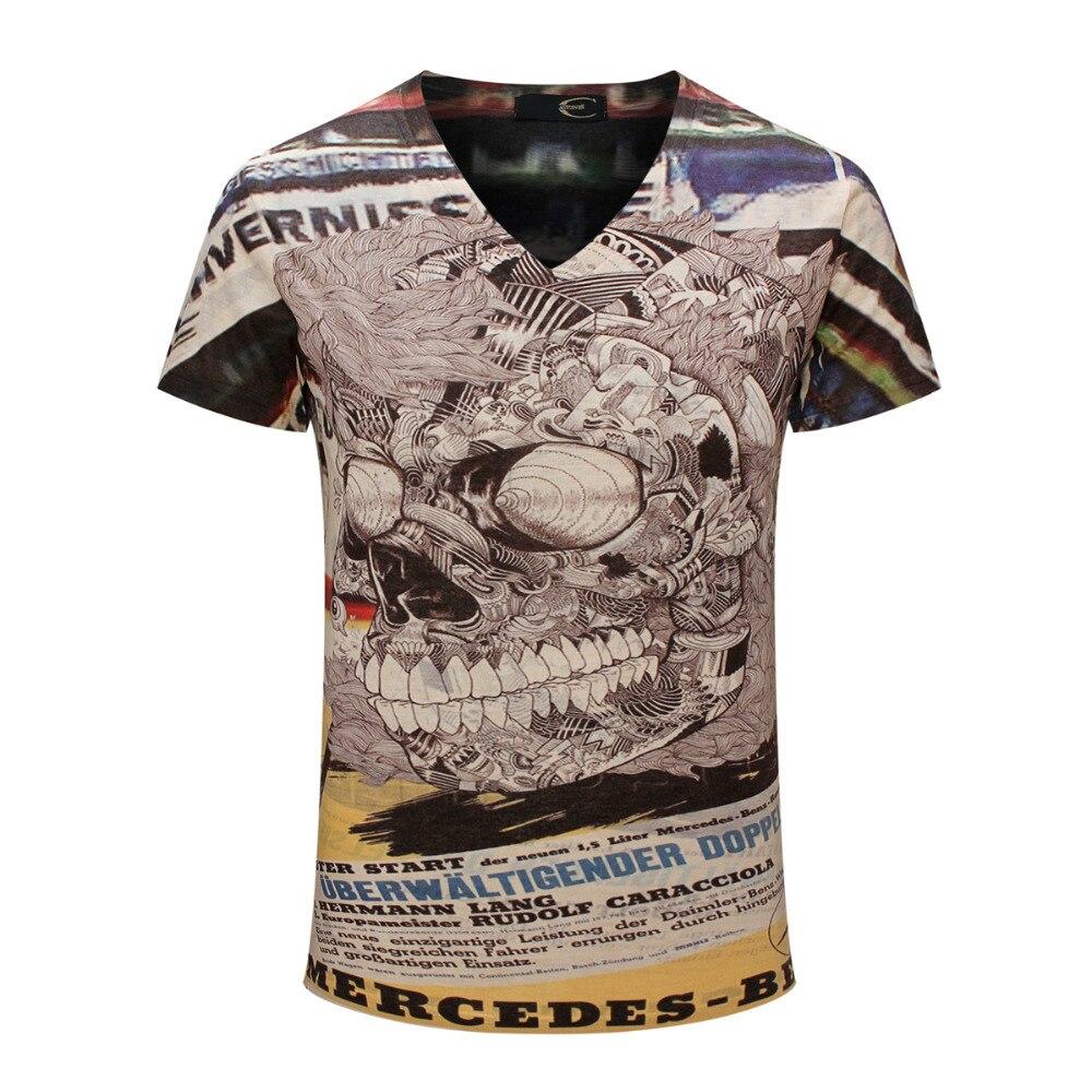 Design t shirt online australia - 2017 Brand Skull Printed T Shirt Top Tees Design Boy Retro Printing Casual Men S T