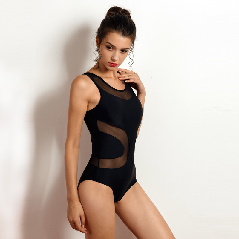 Riseado New Sexy Mesh One Piece Swimsuit Female Swimwear Women Solid - Sportswear and Accessories - Photo 4