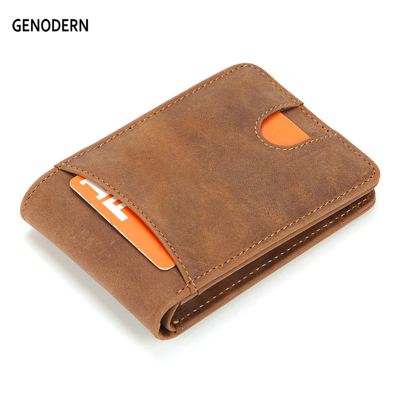 GENODERN Slim Wallets For Men Crazy Horse Cow Leather Short Mini Men Wallet Thin Male Purse
