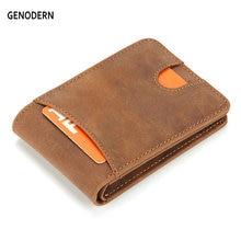 GENODERN Slim Wallets for Men Crazy Horse Cow Leather Short Mini Men Wallet Thin Male Purse