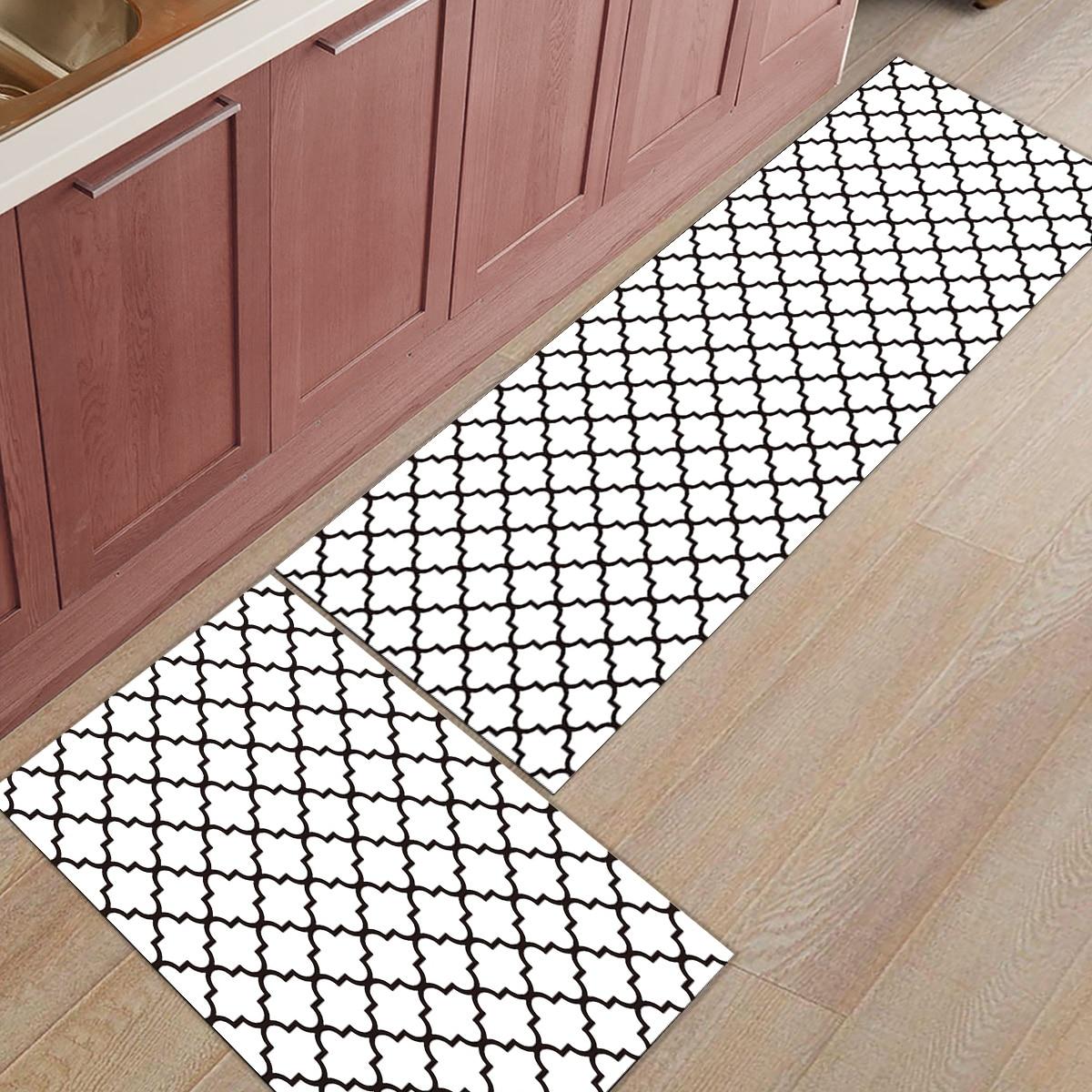 Classique blanc et noir géométrique Check moderne prismatique 2 pièce cuisine tapis salle de bains accessoires Set saleté débris boue trappeur