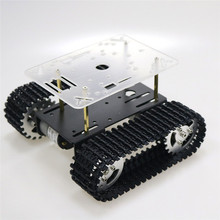 цена на Smart Robot Tank Chassis Tracked Car Platform with 12V 350rpm Motor for Arduino DIY Robot Toy Part mini T101 New Arrival 2018