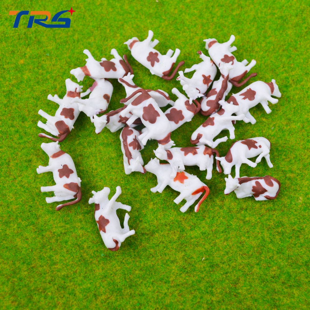 50pcs HO Scale Model Painted Color Brown Farm Animals Cows for Model Architecture Layout 3types
