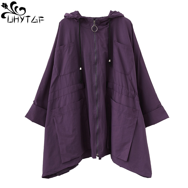 UHYTGF Female Streetwear Coats Loose wild Spring Autumn   Trench   Coat for Women Loose Hooded Plus Size Medium long   trench   coat 300