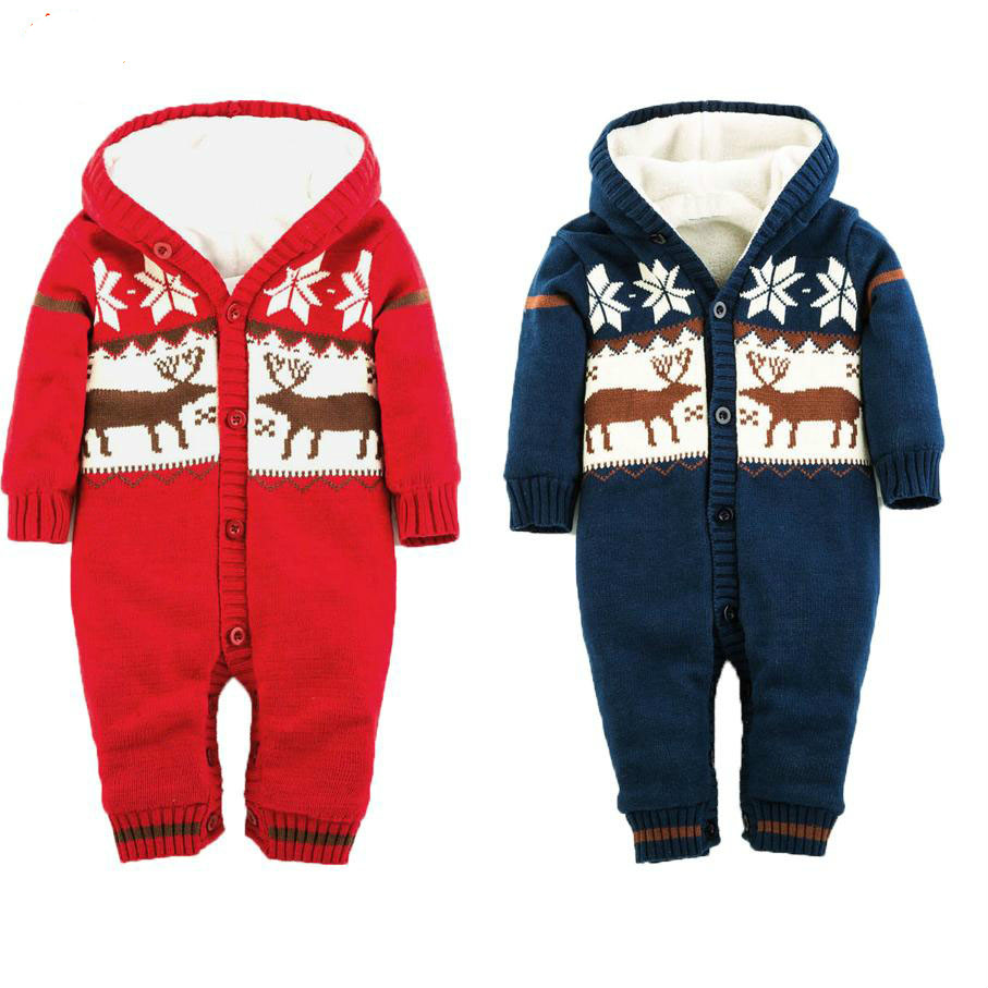 2017 New Christmas Deer Baby Boy  Clothes Thickening Baby Rompers Hooded Baby Coral Velvet Clothes  Baby Girl Winter Coverall