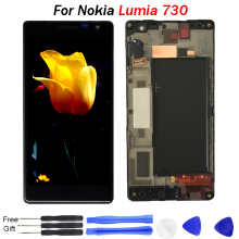 Original For Nokia Lumia 730 Screen display 735 LCD Display Touch Screen Digitizer Glass Assembly with Frame For Nokia Lumia 730 nillkin protective pu leather pc case cover for nokia lumia 730 735 black