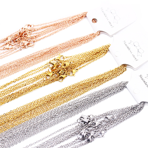 1mm & 2mm 10pcs lot Stainless Steel Chains Silver&Gold&Rose Gold Color 45-60CM Necklaces Women/Men Pendant Bulk Sale(China)
