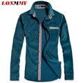 LONMMY М-3XL мужчины полосатой рубашке мужчины camisa masculina Вельвет рубашка мужчины импортированы одежда С Длинными рукавами