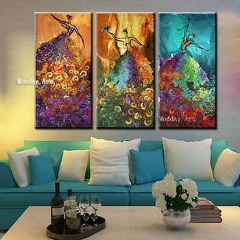 Wall Art Handpainted Modern Figure Oil Paintings Home Decor painting Wall Art picture Large Knife Colorful Dancer Women Picture