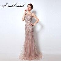 Open Back Blush Mermaid Evening Dresses High Quality Rhinestone Abendkleider 2016 Women Prom Gowns Long Robe
