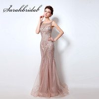 Open Back Blush Mermaid Evening Dresses High Quality Rhinestone Abendkleider 2016 Women Prom Gowns Long Robe
