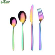 BERGLANDER 24Pcs/Set Colorful Flatware set Stainless Steel Tableware Knife Fork Dinner Western Food HQ Rainbow Cutlery Set