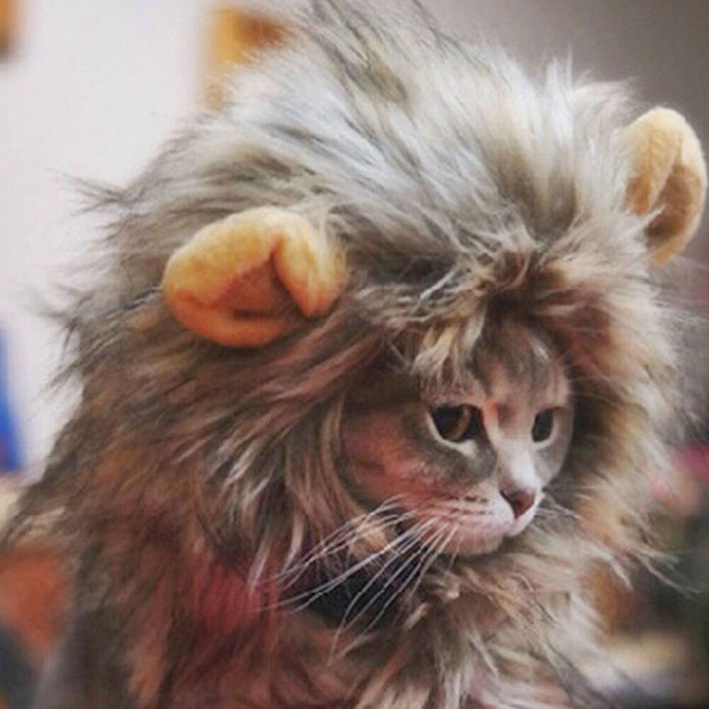 Пушистая шляпа для животных парик льва для кошки костюм для хеллоуина с ушами фестиваль