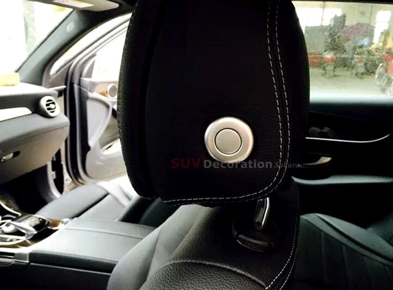 For Benz ML W166 GL X166 2012 2015 ABS Chrome Interior Seat Pillow Headrest Adjust Button