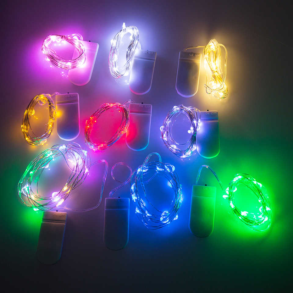 1M 10 LED String Light button battery operated Christmas Garland Wire Light  Festival Wedding Party Or Home Decoration Lamp