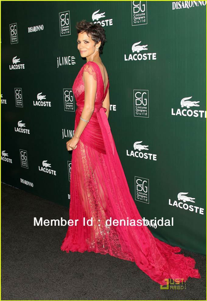 d929c205ad ES01 Halle Berry Lace Poly Chiffon Red Carpet Maxi Gowns Elie Saab ...
