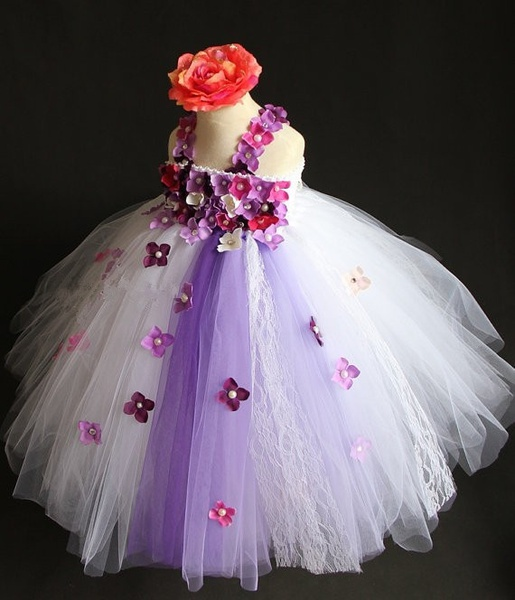 Schönes Mädchen weißen Spitzenkleid Baby Blumen lange Tutu Kleid - Kinderkleidung