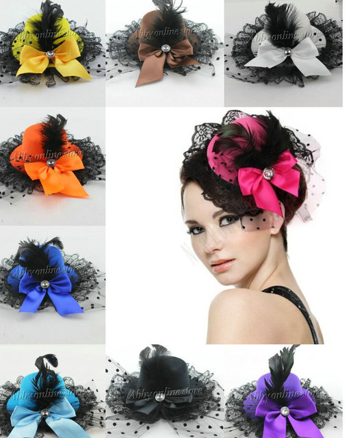 High Quality Feather Lace Bow Mini Top Hat Lolita Burlesque Fancy