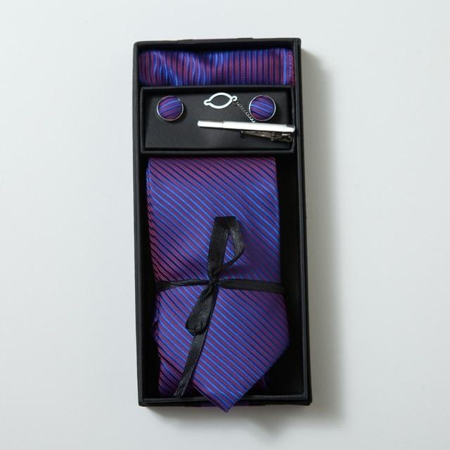 2017 conjunto corbata corbata hanky gemelos 6 colores de los hombres lazos establece caja de regalo pañuelos de bolsillo torre cuadrada corbata lxy488