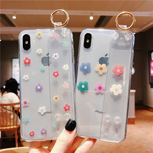 ins flower wristband tpu case for iphone 8 7 6 6s plus X XR XS MAX cover fashion transparent floral holder soft phone bag