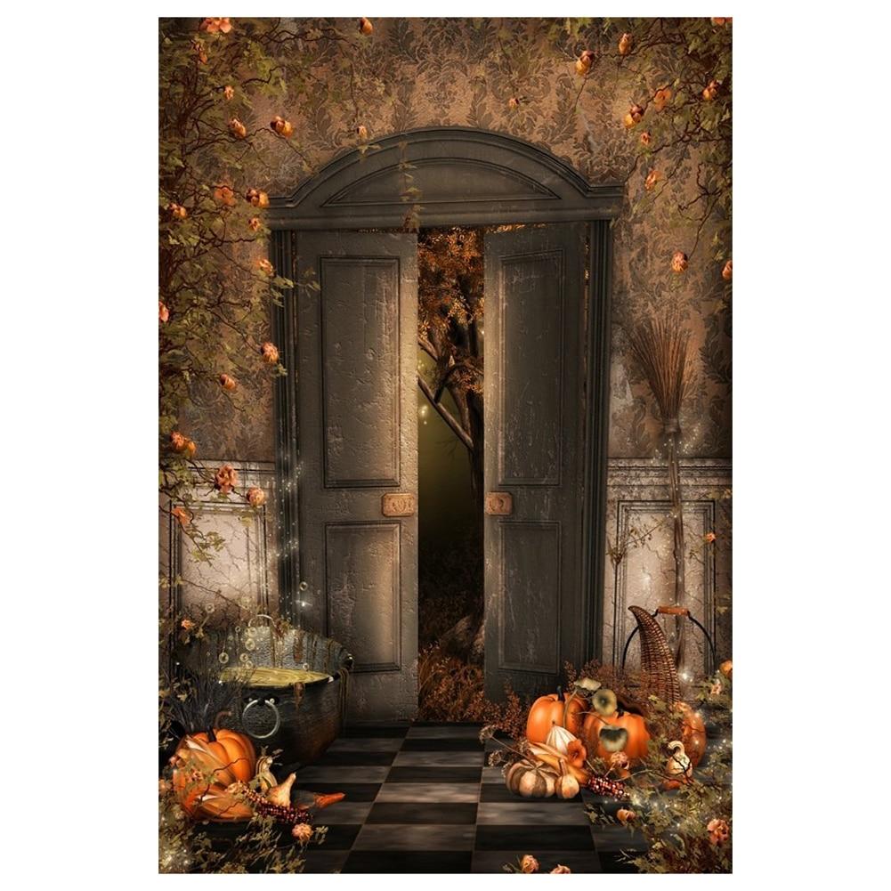 Photography Backgrounds 1x1.5m Photo Backdrop Halloween Gloomy Witch Room Retro Wall Door Magic Potion Broom Pumpkin Vine Flow статуэтка gloomy
