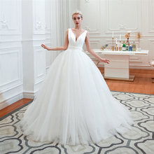 Vintage Wedding Dresses 2019 V Neck Princess Ball Gown Wedding Gown Rufflles White/Ivory Royal Bridal Dress Vestido de Noiva стоимость