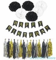 С Днем Рождения украшения золотая бумага ленточки помпоны баннер для свадьбы День рождения, детский душ украшения