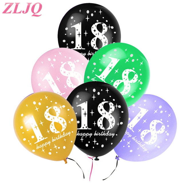 ZLJQ 10pcs 12inch 18th Happy Birthday Balloons Wedding Anniversary Decoration Black Pink Globos Party