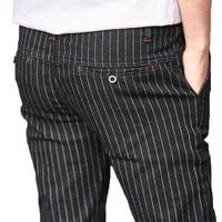 Slim Fit Men của Sọc Giản Dị Quần Dây Kéo Eo Denim Jeans Thiết Kế Màu Xanh Đen Thời Trang 2017 Mùa Xuân Mùa Hè