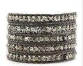 2016  austrian crystal skull hand-woven leather bracelet infinity bracelet bangles men charm bracelet  LW-S040