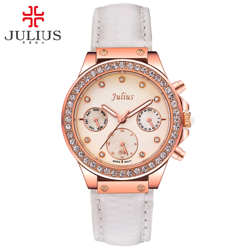 JULIUS Logo Watches Ladies Quartz Watches Bezel Japan Movt Valentine Brand Whatches Women Luxury Chronograph Rose Gold JA-815 цена