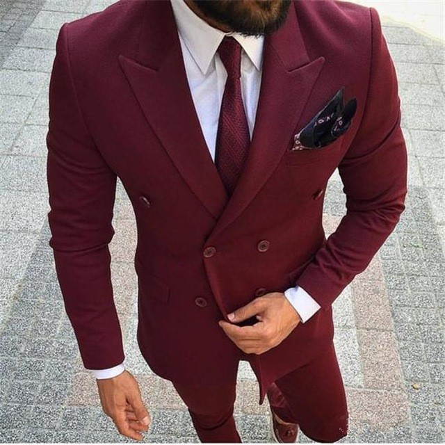 2018 Wine red Customed Mens Solid Dresses Tailored Men Wedding 2 Pieces suits jacket+pants Groom Prom Party Double-breasted