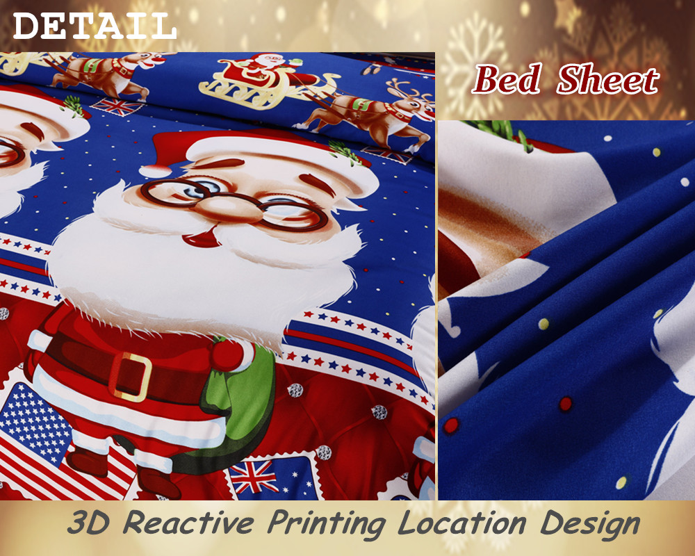 Great For Christmas, Set 4Pcs Christmas Santa Clause, 3D Bedding Set Duvet Cover Set,Sheet, Pillowcase, Sham Covers 41