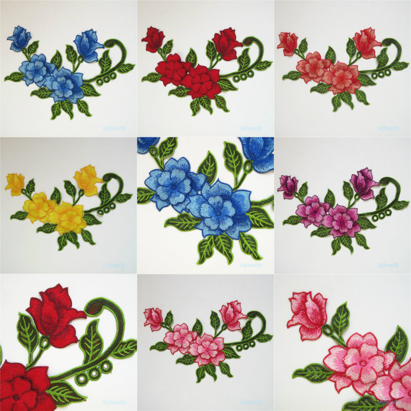 Floral Patches Sewing Trim Lace Embroidered Neckline Applique Lace Embroidered