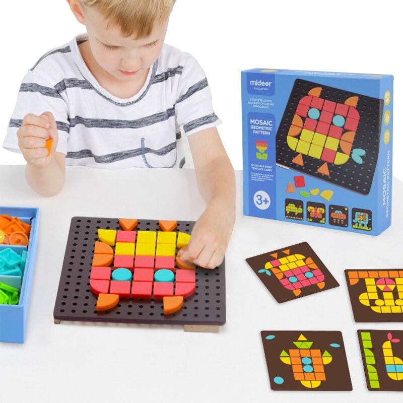 Doigt Rock Début Éducatifs DIY de Bande Dessinée Forme Puzzle Jouets Mosaïque Géométrique Motif Enfants Reconnaissent Couleur Jigsaw Oyuncak