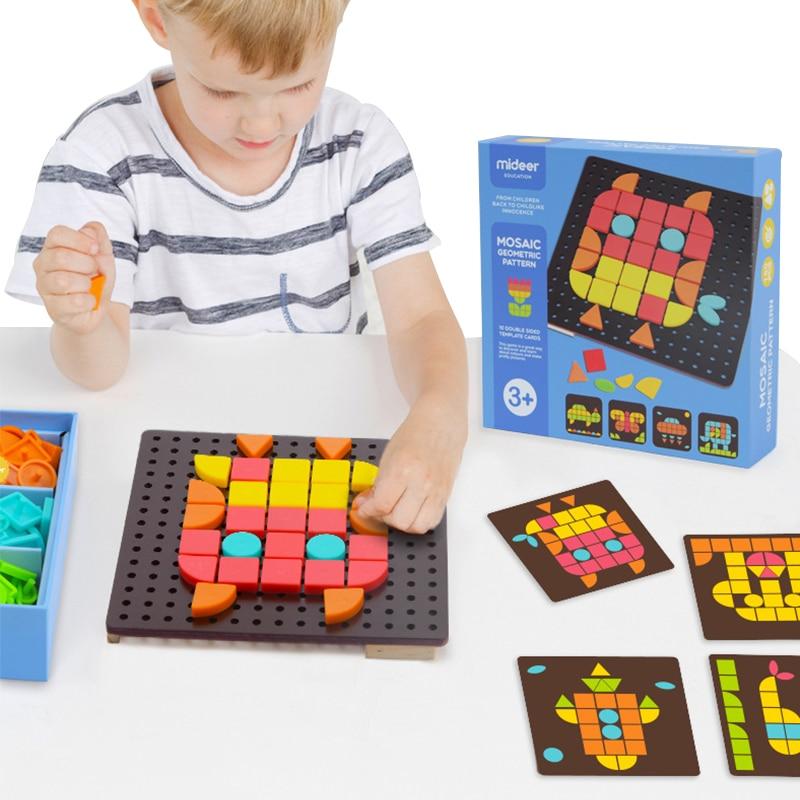 Finger Rock Precoce Educativo di DIY Del Fumetto di Puzzle Mosaico Di Giocattoli Disegno Geometrico I Bambini Riconoscono Jigsaw Puzzle Per I Bambini Oyuncak