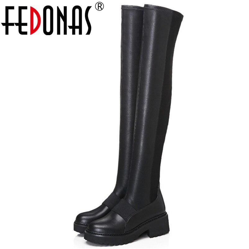 FEDONAS 黒人女性ニーハイブーツハイヒールロング暖かい冬の靴の女性タイトな高ダンスブーツ  グループ上の 靴 からの 膝上 ブーツ の中 1