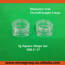 FreeShip 100pcs 3g empty clear transparent plastic cosmetic jar for cosmetics packaging 3g cosmetic cream jar