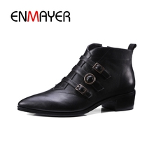 ENMAYER Short boot Genuine Leather Celebrity Autumn Brand Black Med Heel Pointed Toe Women Ankle Boots Shoes Booties Metal CR444