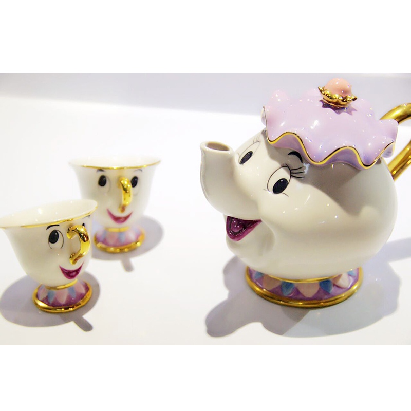 Cartoon Beauty and Beast Tea Set ქალბატონი Potts Chip ყავის ქოთნის თასი Mug Cute Xmas Birthday Gift Drop Shipping