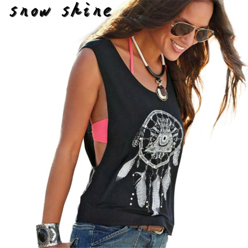 snowshine YLI Sexy Women Dreamcatcher Printed Sleeveless Tops Crop Tank Vest Shirt Tee Free Shipping
