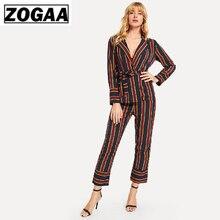 ZOGGA 2019 Vertical Stripe Women Suit Streetwear Female Full Sleeve Belt Shirts Womens Fashion BF Casual Shirt + Pant Suits