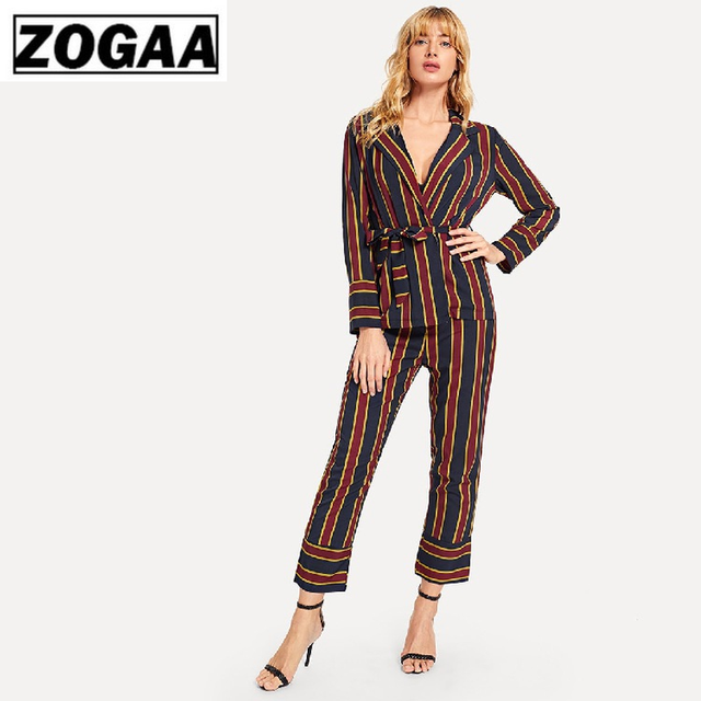 ZOGGA 2019 Vertical Stripe Women Suit Streetwear Female Full Sleeve Belt Shirts Women's Fashion BF Casual Shirt + Pant Suits