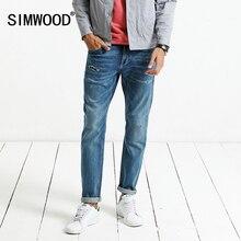Simwood осень 2017 г. Новый Джинсы Для мужчин Тощий Байкер Джинсы Для мужчин рваные модные штаны брендовая одежда NC017030
