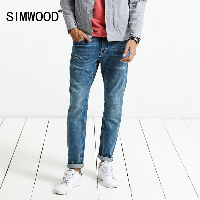 SIMWOOD 2019 Spring New   Jeans   Men Skinny Biker   Jeans   Men Denim Pants Ripped Hole Fashion Trousers Brand Clothing NC017030