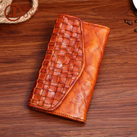 New Pattern Vegetable Tanning Real Genuine Leather Handmade Man Wallet Cow Leather Plait Retro Envelop Leisure