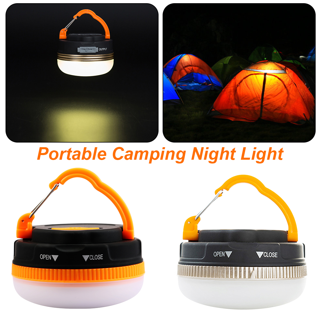 180 Lumens Portable Outdoor Camping Equipment Survival Lantern Hiking Tent LED Light Campsite Hanging Lamp Emergency With Handle